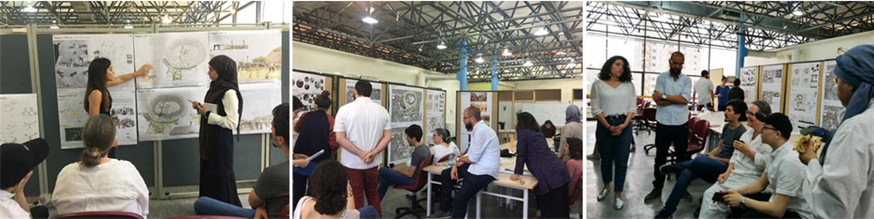 الطلاب يعرضون أعمالهم أمام لجنة التحكيم وزملائهم