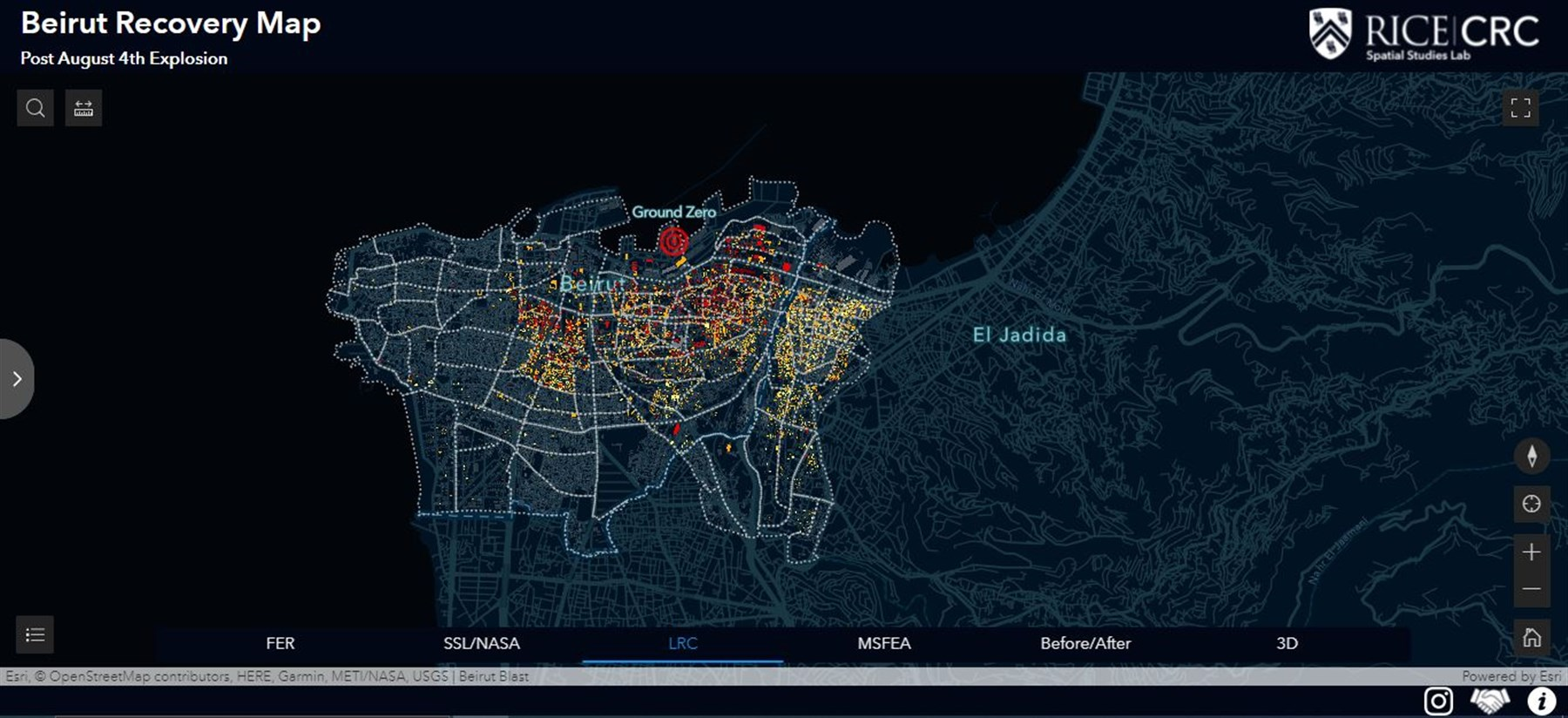 A first damage assessment map based on the BUL/LNSCR base map visualizing the extent of damage and ongoing repair works after Beirut August 4th blast.