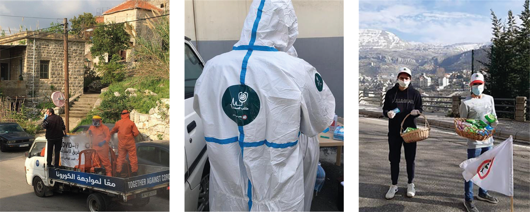 Political parties sterilize streets, distribute aid, masks, and sanitation products in photos posted on their facebook pages. The workers are wearing logos and colors of the parties they are representing.