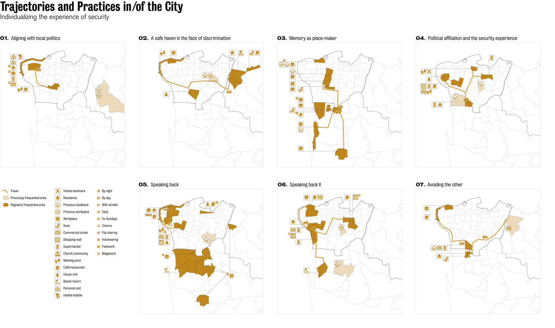 These maps show the trajectories of several individuals in Beirut. The stories of three domestic workers (one from Bangladesh, the second from Nigeria, and the third a Palestinian refugee), one Syrian worker, and four middle class Lebanese citizen show how class, sect, and nationality, intersect with experiences of the city and its security.