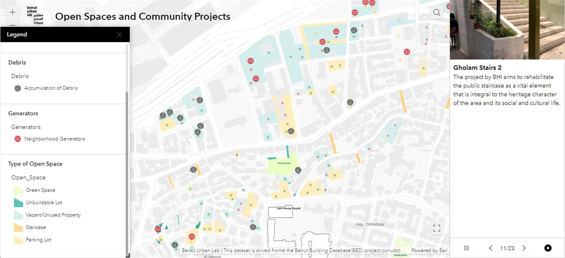 Map 2 - Open Spaces and Community Support Projects: This dataset displays publicly and privately owned vacant lots and gives information about their conditions. The map also locates a first set of community support projects led by CSOs, NGOs and INGOs.