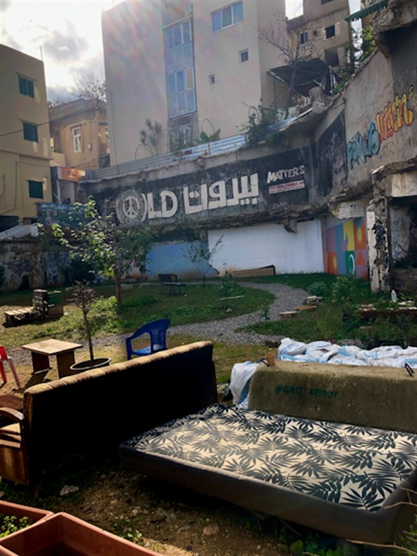 GRObeirut informally repurposed the vacant lot of the previous Laziza Factory into a communal space. (Source: Luna Dayekh, December, 2020)