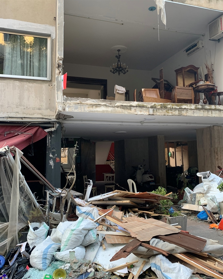 In Geitawi, homes are exposed after the building facade crumbled (Photo: Mona Fawaz)