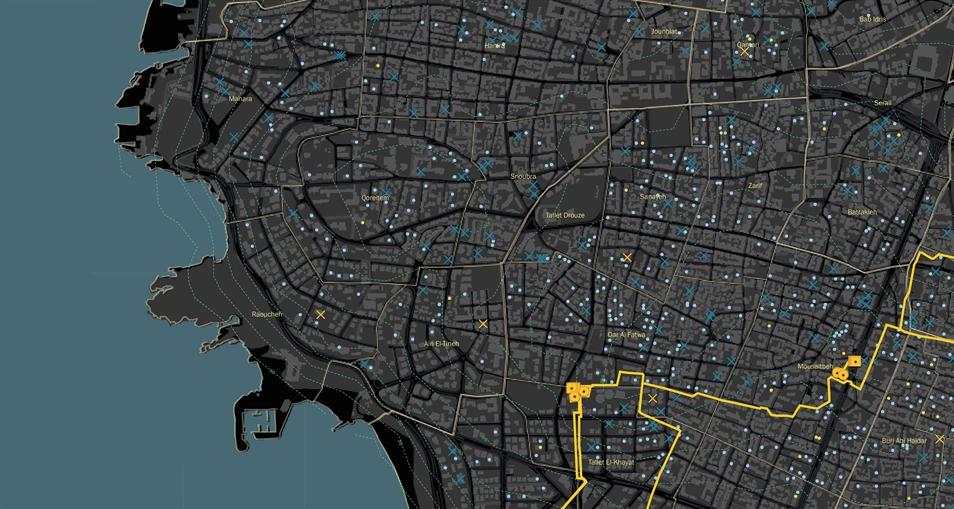 تشمل الخريطة الأساسية بنى تحتية لشبكة المياه تدل على المضخات والخزانات الموجودة.