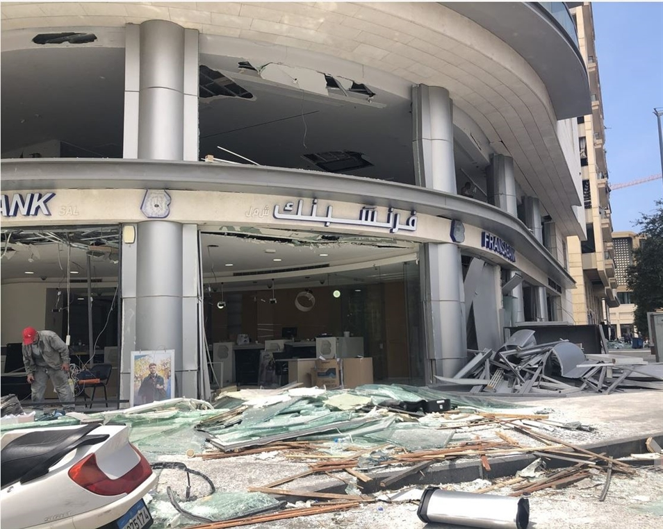 One of many banks in Beirut's historic core, devastated large-glass facades is a typical sight in the area (Photo: Mona Harb)