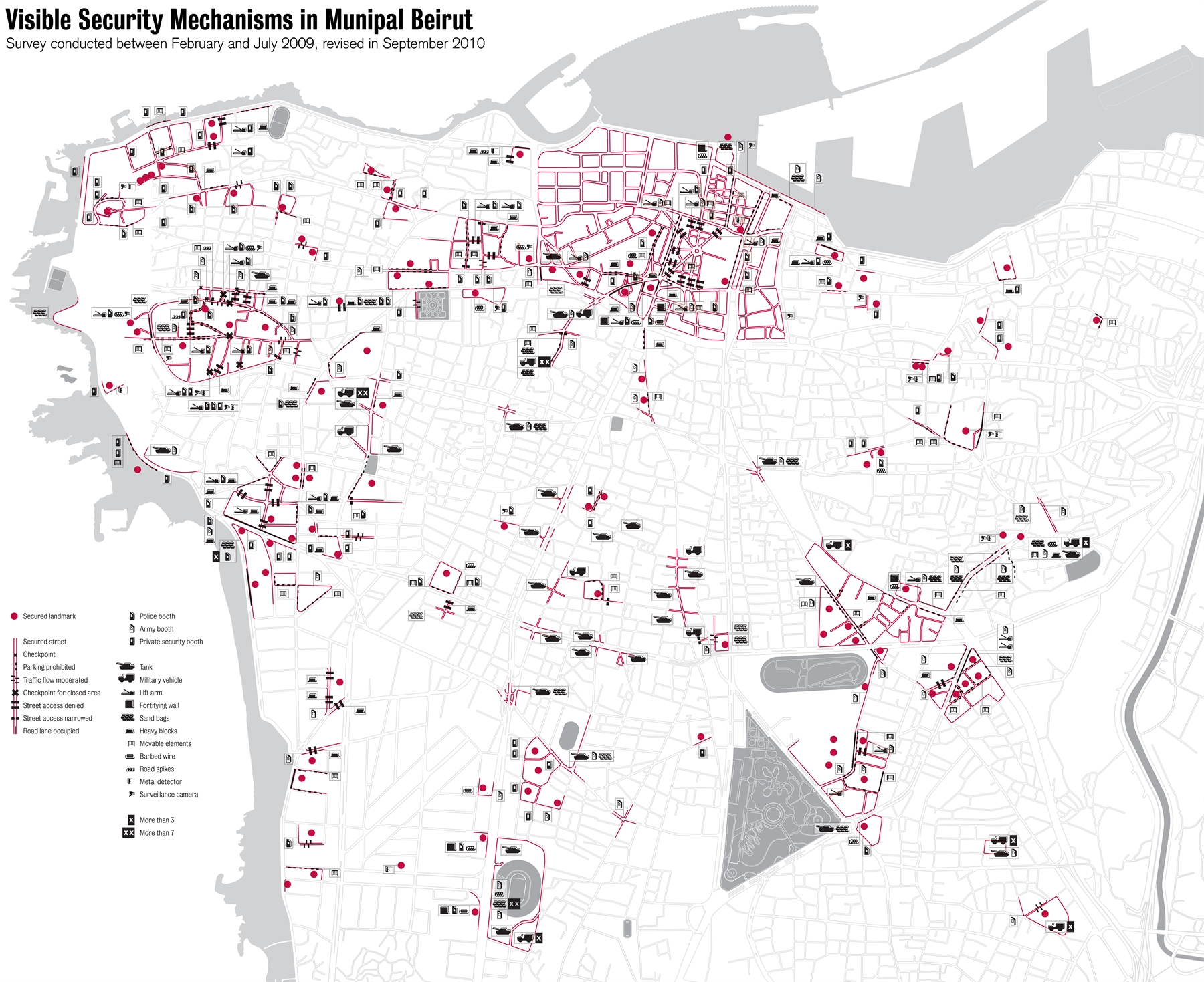 Map showing the visible security mechanisms in Municipal Beirut, published several times between 2010 and 2015.