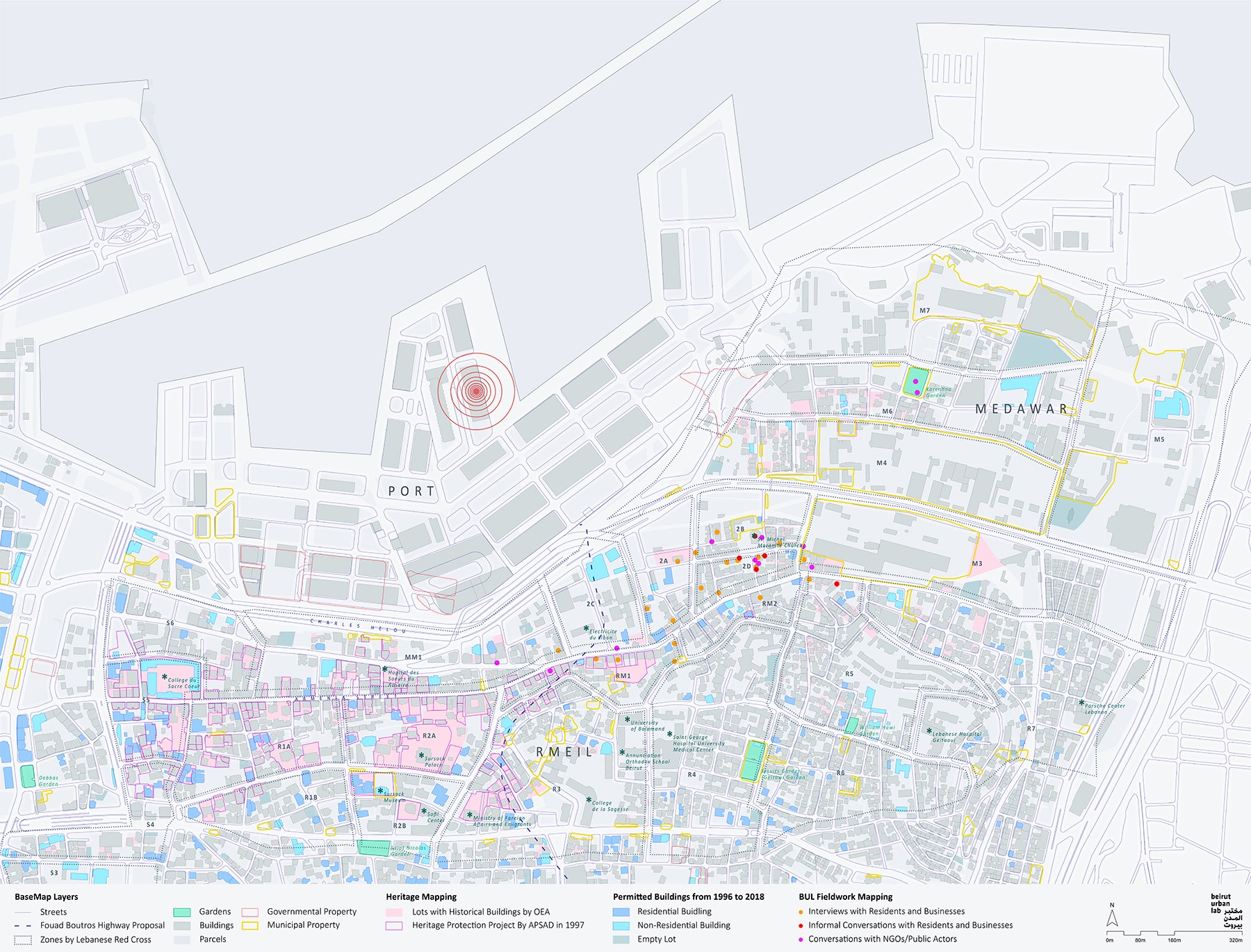 As a first step, the Lab's mapping team overlapped all the available information about the affected neighborhood to produce a more comprehensive image of these areas