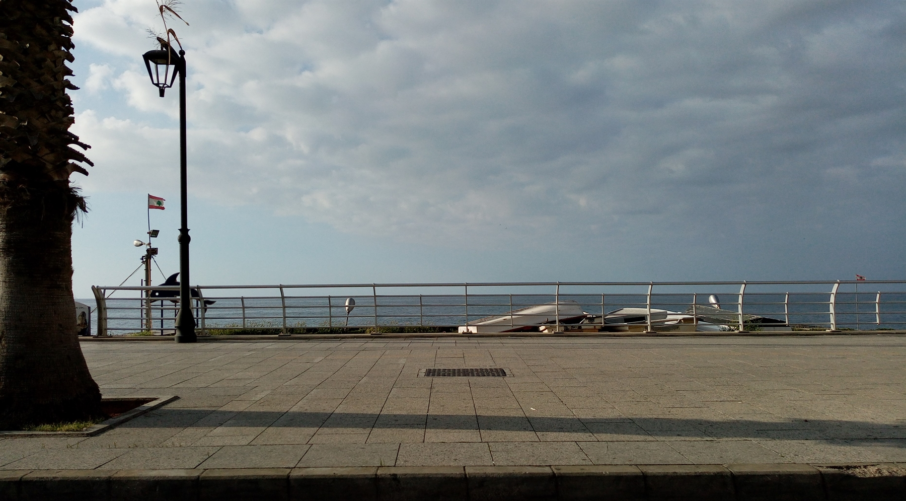 The Corniche, one of the busiest public spaces in Beirut, is completely empty during the lockdown (Photo: Dounia Salamé, April 2020)