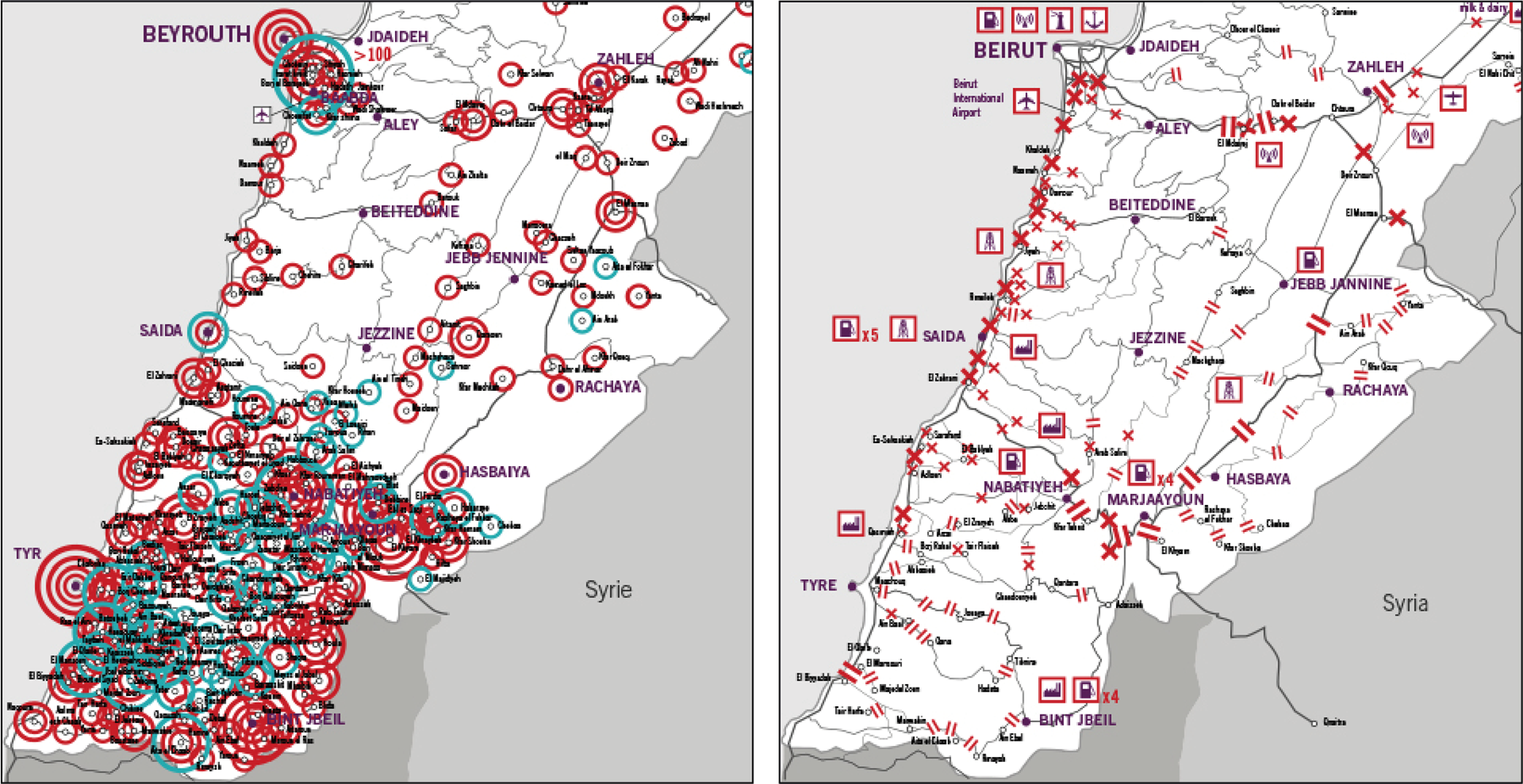 Solidarity Maps: Israeli Assault on Lebanon, Samidoun Media Team, 2006, Map design: Ahmad Gharbieh and Zeina Maasri.