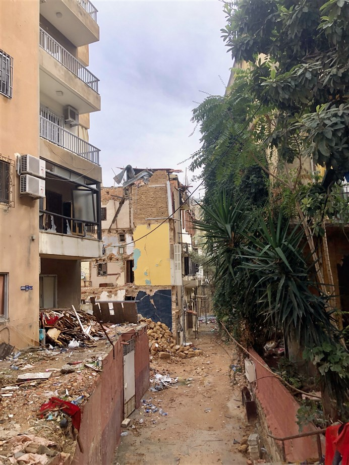 Collapsed heritage buildings as seen from Salah Labaki Street. (Photo: Luna Dayekh)